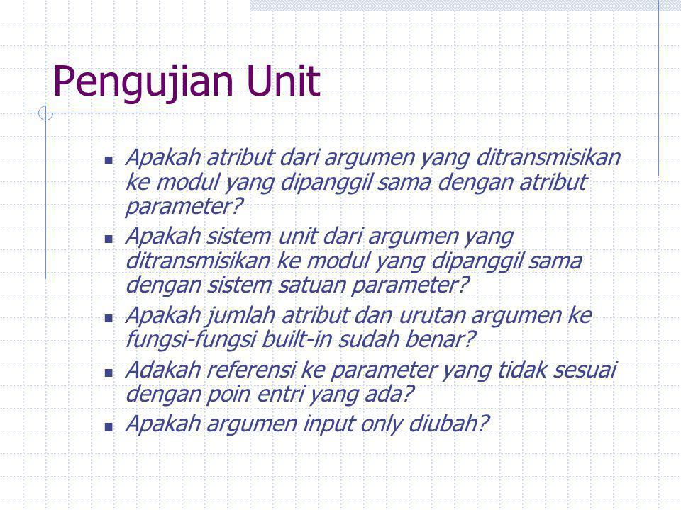 Pengujian Unit Apakah atribut dari argumen yang ditransmisikan ke modul yang dipanggil sama dengan atribut parameter