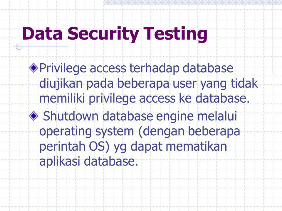 Data Security Testing Privilege access terhadap database diujikan pada beberapa user yang tidak memiliki privilege access ke database.