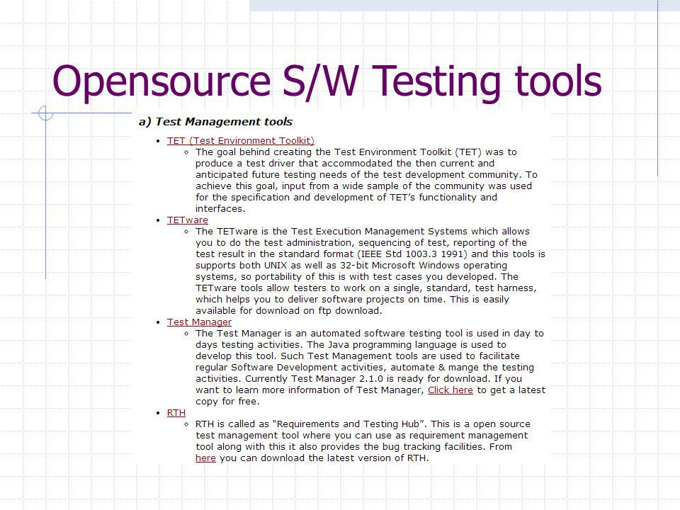 Opensource S/W Testing tools