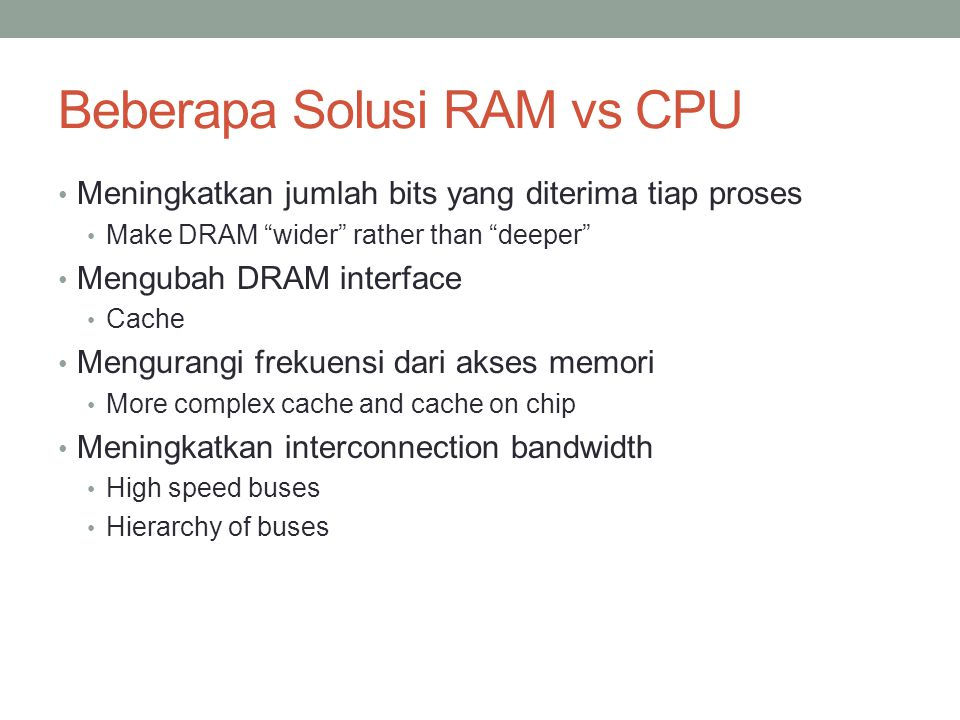 Beberapa Solusi RAM vs CPU