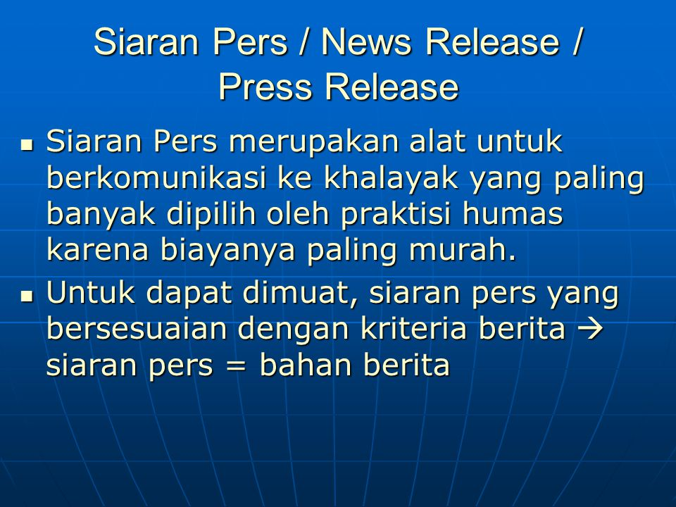 Siaran Pers / News Release / Press Release