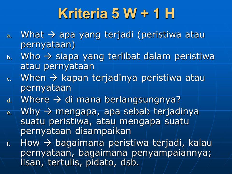 Kriteria 5 W + 1 H What  apa yang terjadi (peristiwa atau pernyataan)