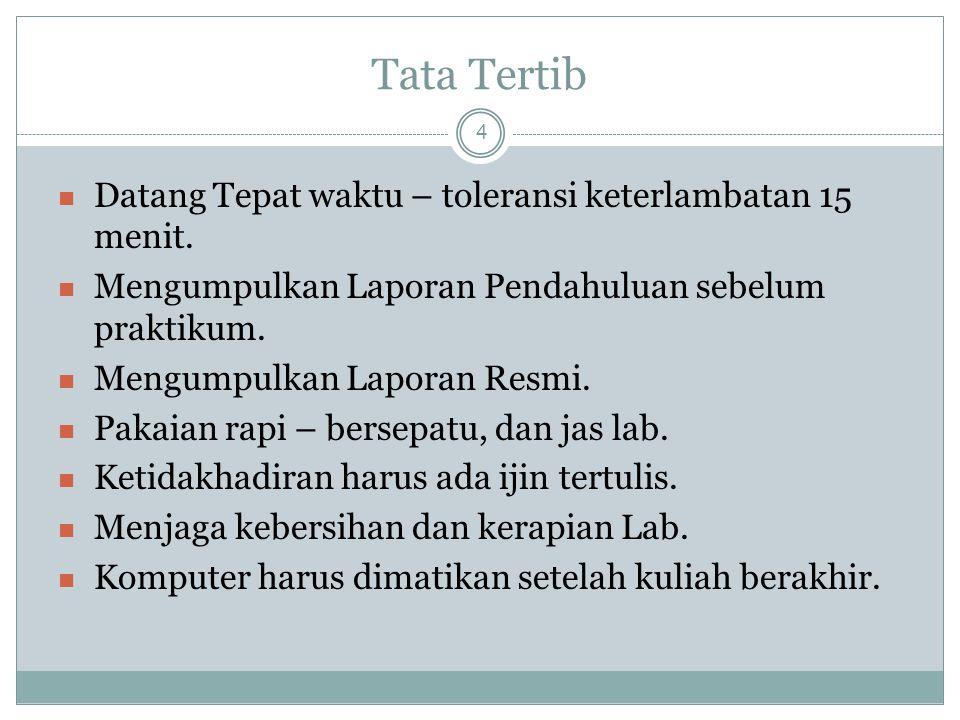 Tata Tertib Datang Tepat waktu – toleransi keterlambatan 15 menit.