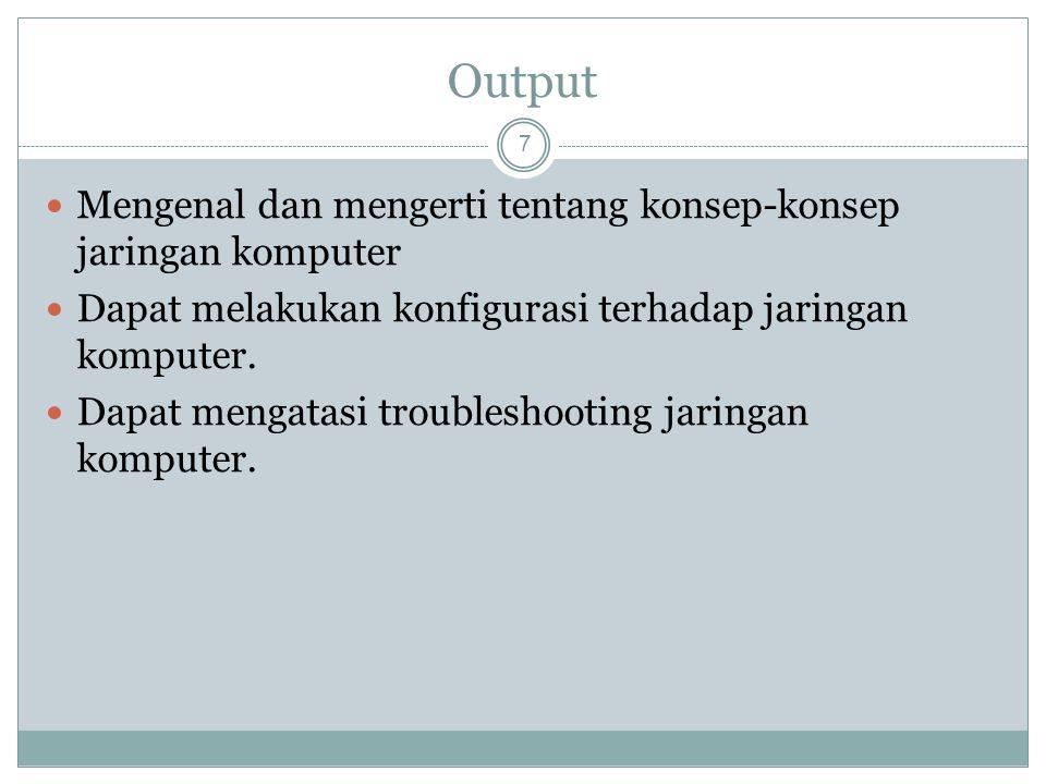 Output Mengenal dan mengerti tentang konsep-konsep jaringan komputer