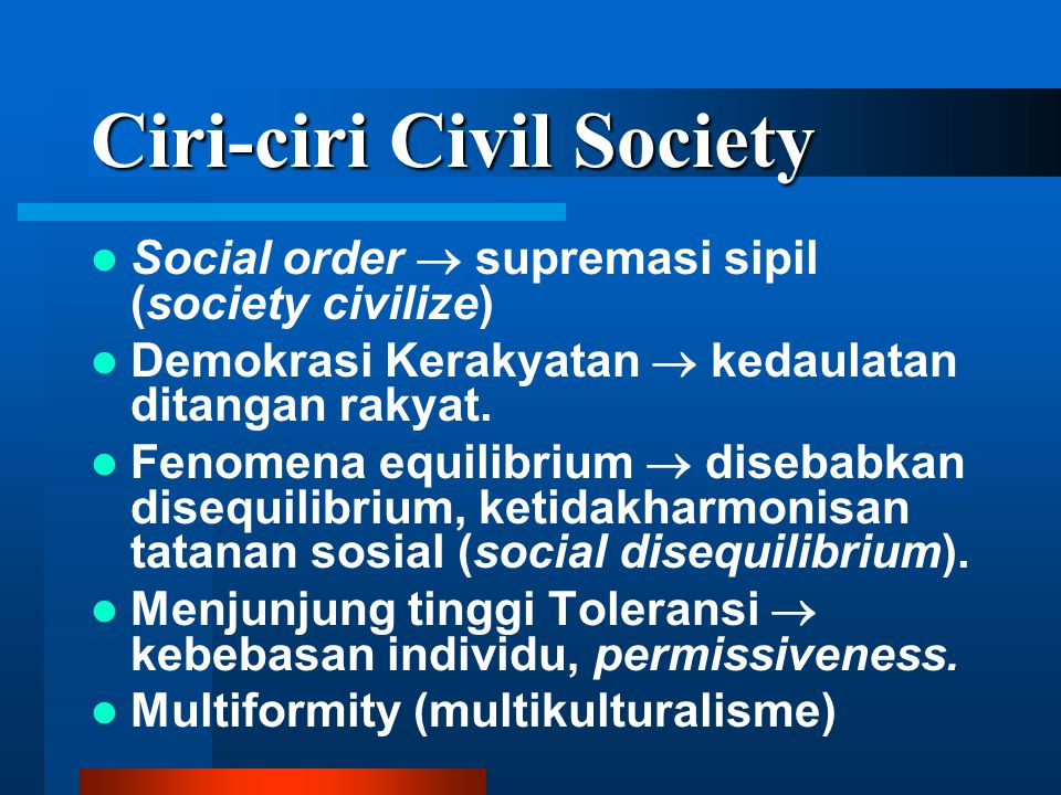 Ciri-ciri Civil Society