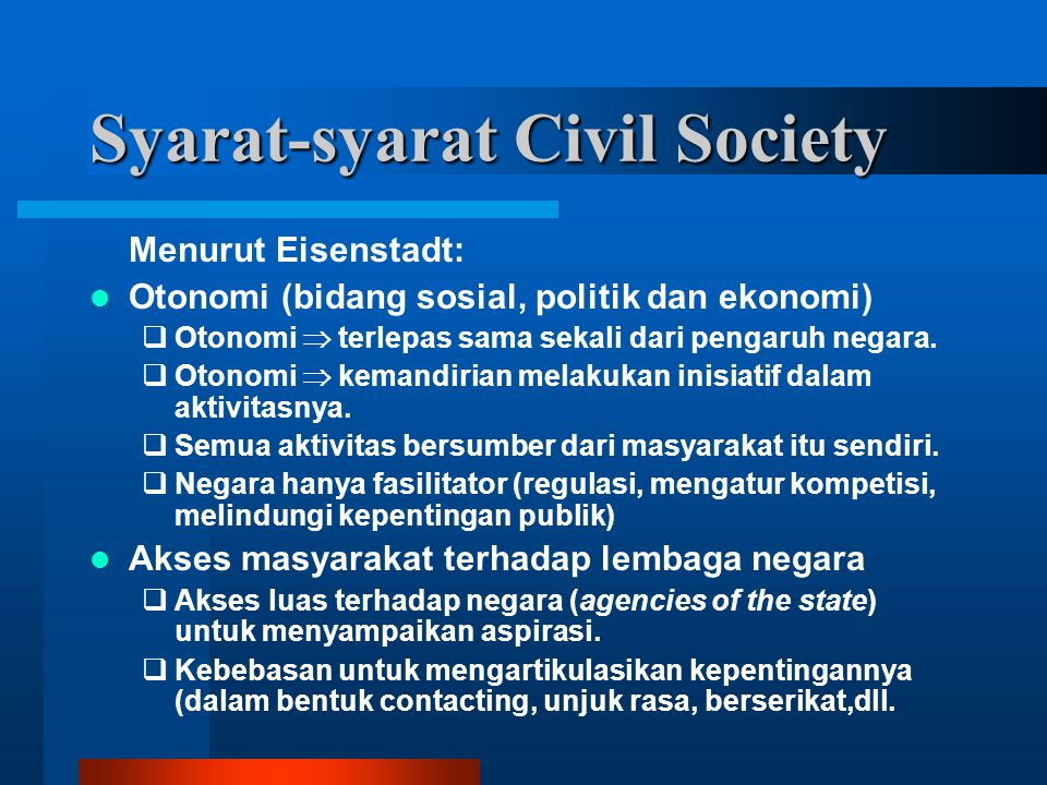Syarat-syarat Civil Society
