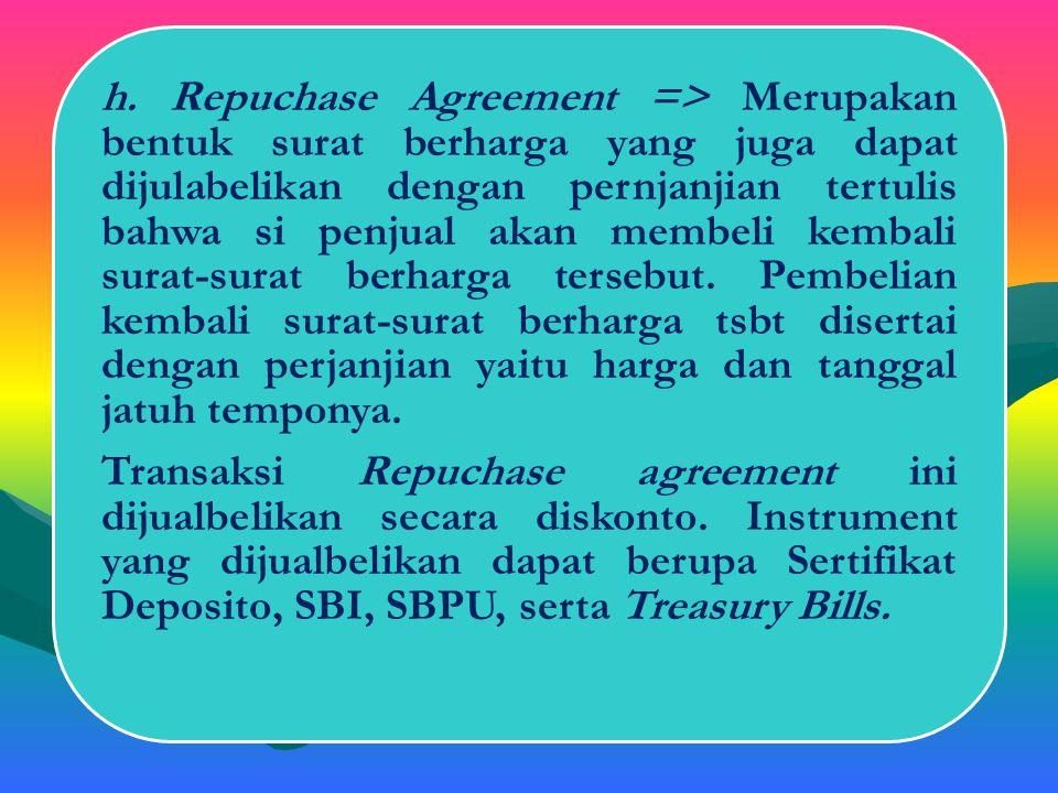 Transaksi Repuchase agreement ini dijualbelikan secara diskonto