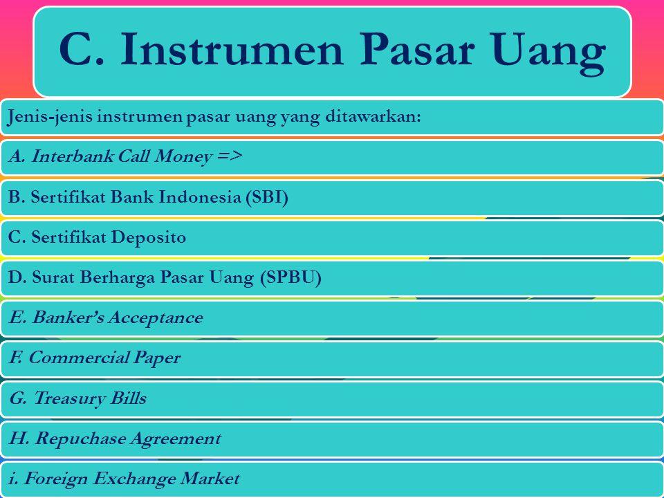 C. Instrumen Pasar Uang Jenis-jenis instrumen pasar uang yang ditawarkan: A. Interbank Call Money =>