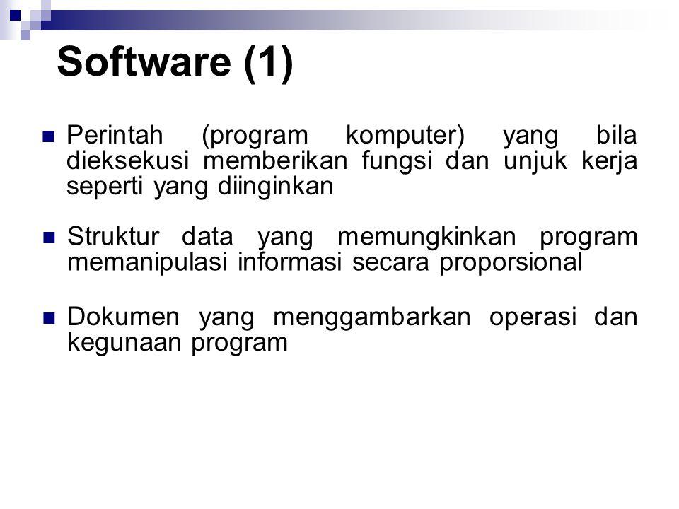 Software (1) Perintah (program komputer) yang bila dieksekusi memberikan fungsi dan unjuk kerja seperti yang diinginkan.