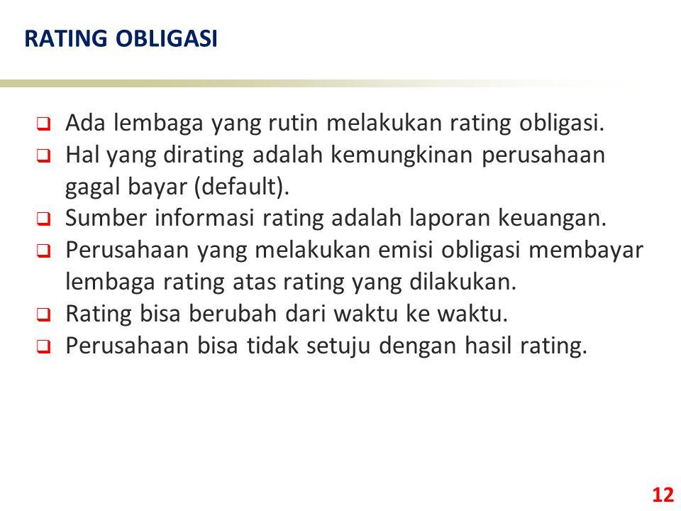 RATING OBLIGASI Ada lembaga yang rutin melakukan rating obligasi. Hal yang dirating adalah kemungkinan perusahaan gagal bayar (default).