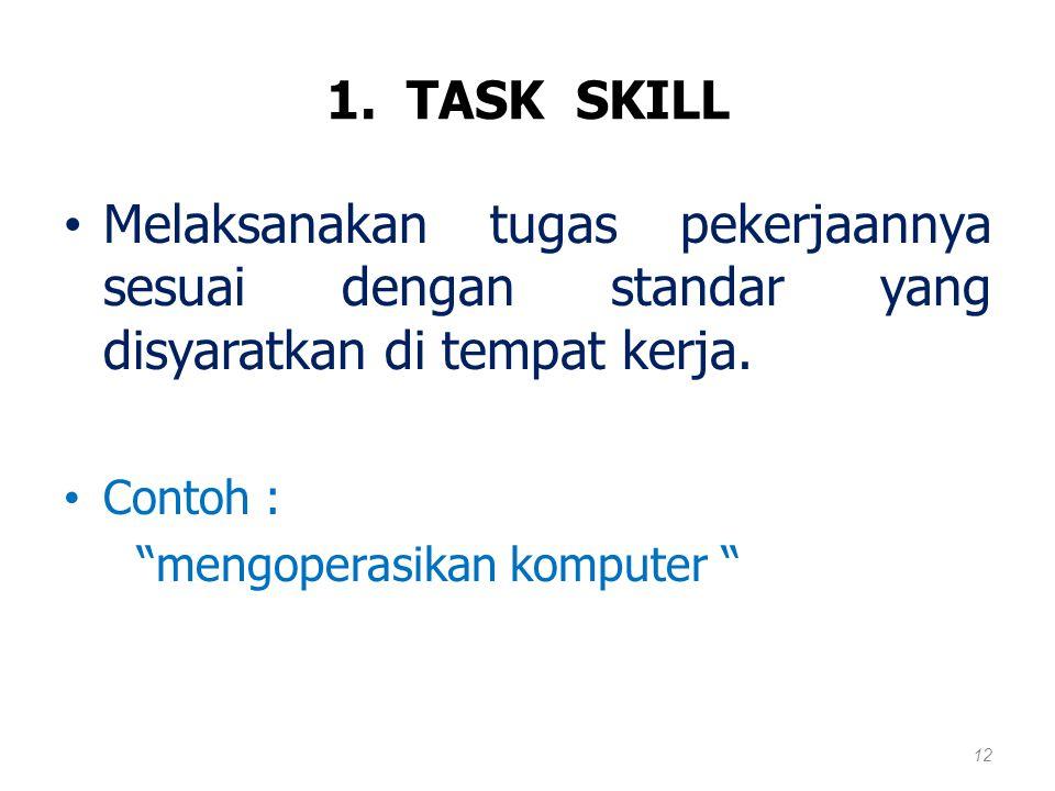 1. TASK SKILL Melaksanakan tugas pekerjaannya sesuai dengan standar yang disyaratkan di tempat kerja.