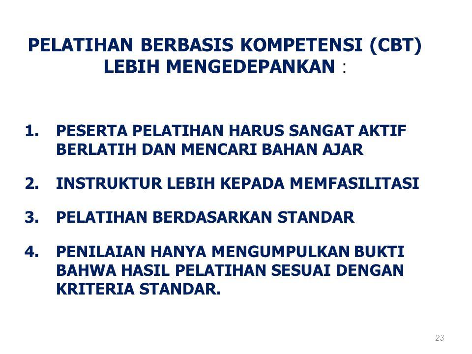 PELATIHAN BERBASIS KOMPETENSI (CBT) LEBIH MENGEDEPANKAN :