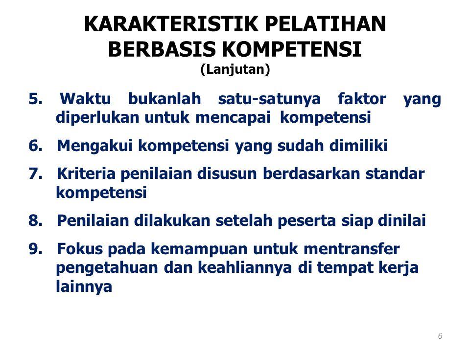 KARAKTERISTIK PELATIHAN BERBASIS KOMPETENSI (Lanjutan)