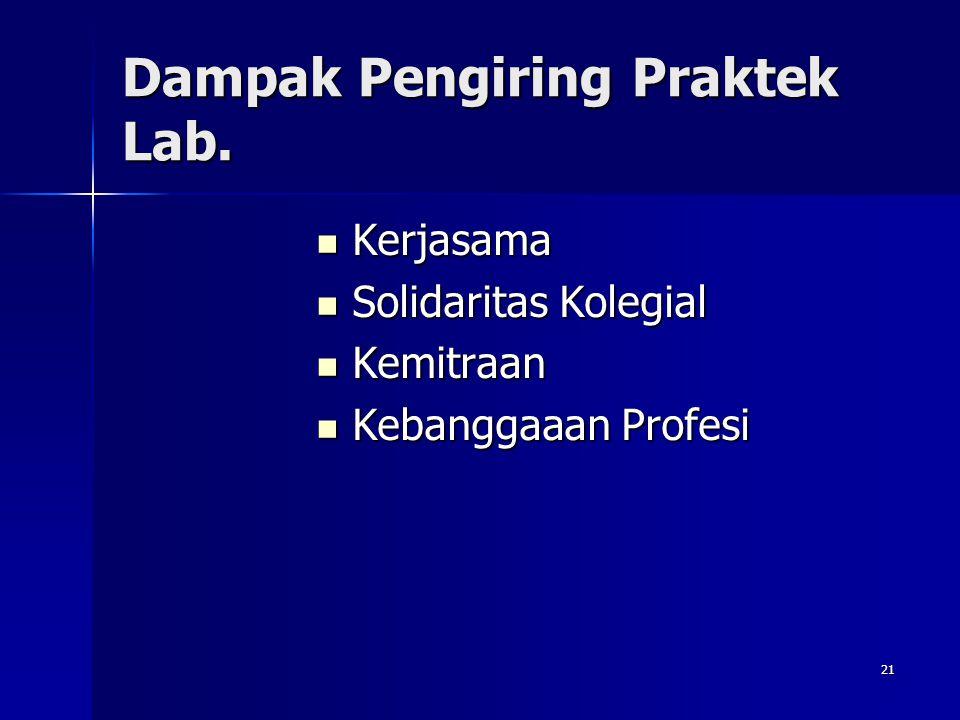 Dampak Pengiring Praktek Lab.