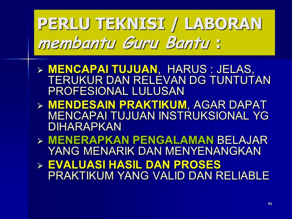 PERLU TEKNISI / LABORAN membantu Guru Bantu :