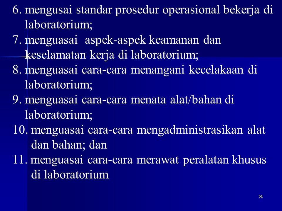 6. mengusai standar prosedur operasional bekerja di