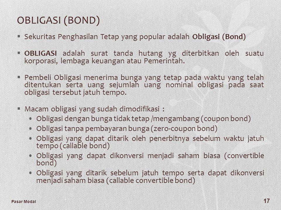 OBLIGASI (BOND) Sekuritas Penghasilan Tetap yang popular adalah Obligasi (Bond)