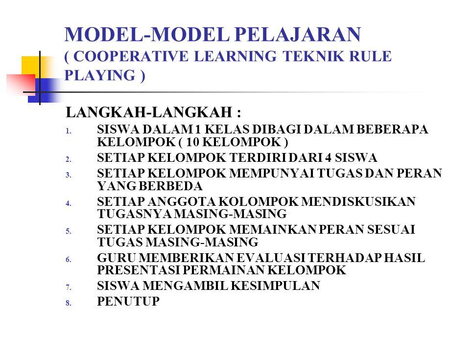 MODEL-MODEL PELAJARAN ( COOPERATIVE LEARNING TEKNIK RULE PLAYING )