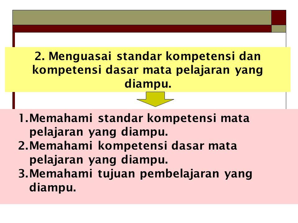 2. Menguasai standar kompetensi dan kompetensi dasar mata pelajaran yang diampu.