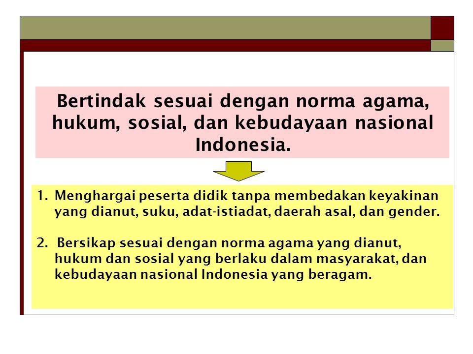 Bertindak sesuai dengan norma agama, hukum, sosial, dan kebudayaan nasional Indonesia.