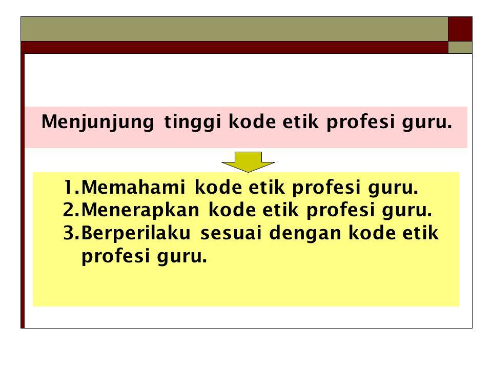 Menjunjung tinggi kode etik profesi guru.