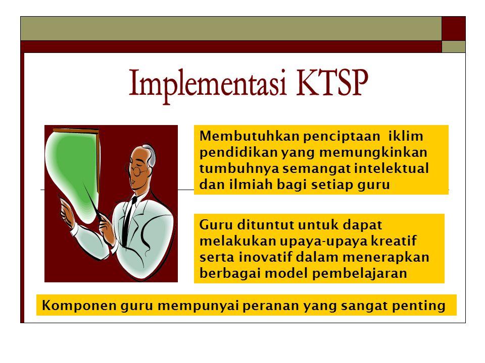 Implementasi KTSP Membutuhkan penciptaan iklim pendidikan yang memungkinkan tumbuhnya semangat intelektual dan ilmiah bagi setiap guru.