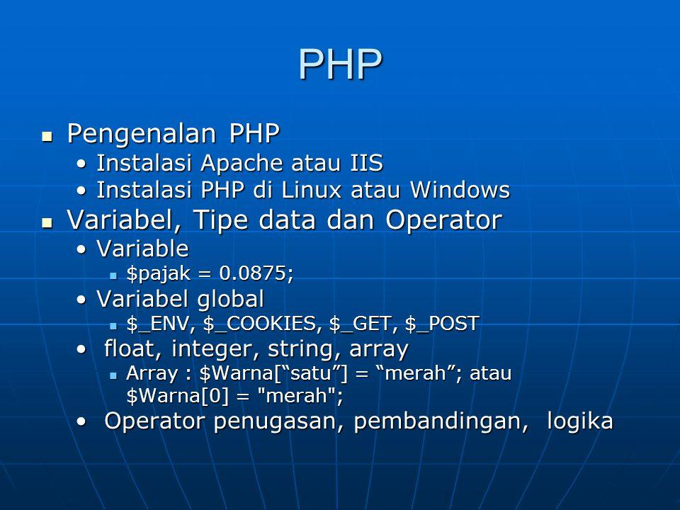 PHP Pengenalan PHP Variabel, Tipe data dan Operator
