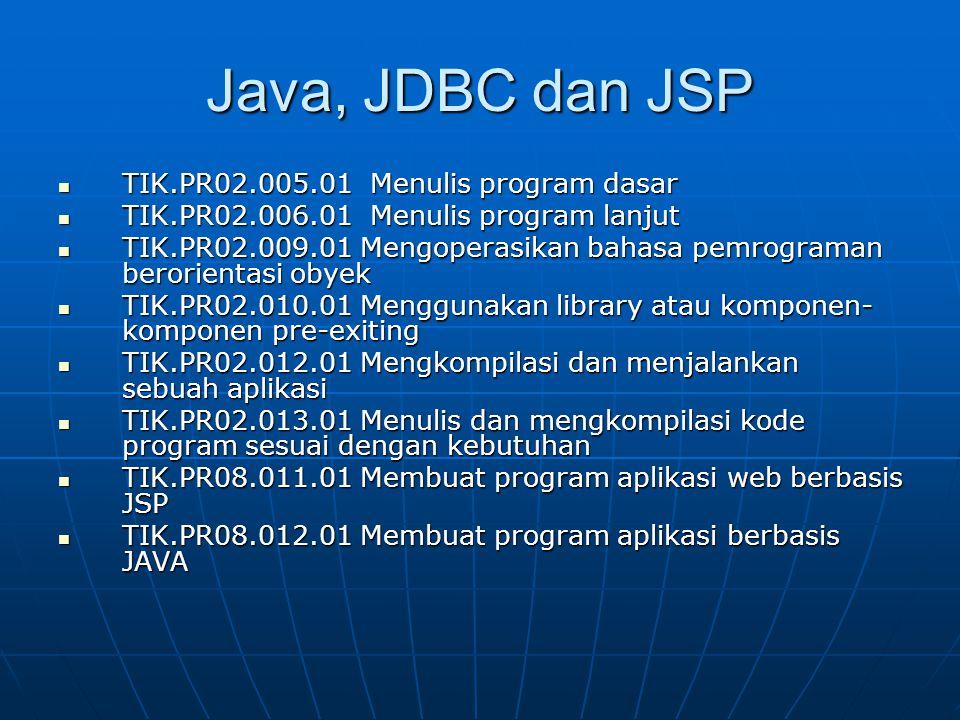 Java, JDBC dan JSP TIK.PR02.005.01 Menulis program dasar
