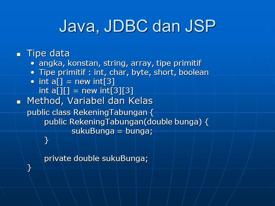 Java, JDBC dan JSP Tipe data Method, Variabel dan Kelas