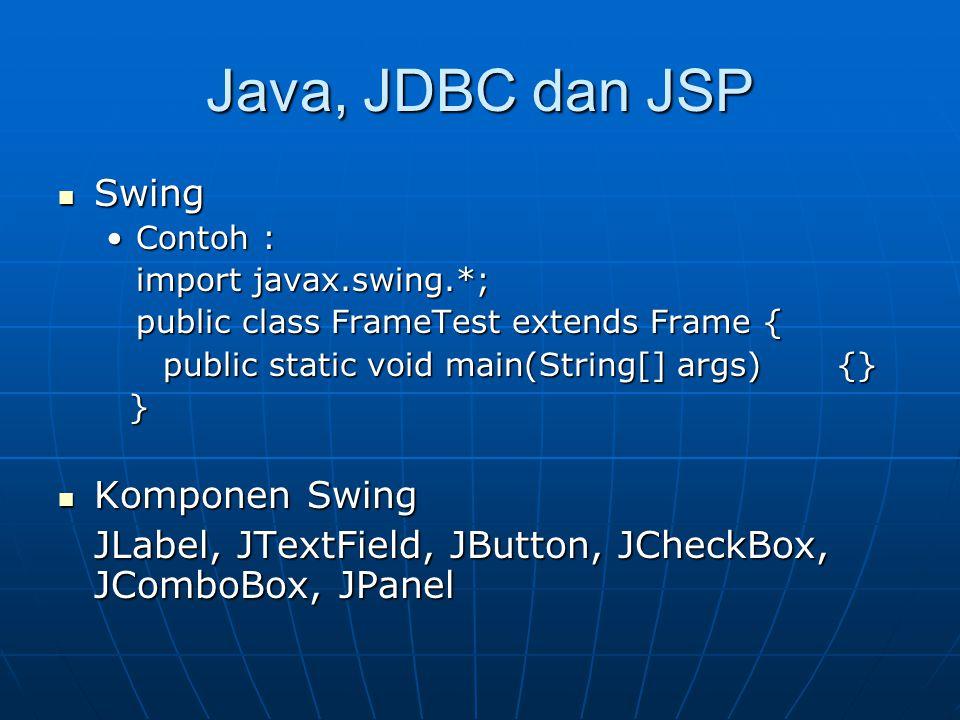 Java, JDBC dan JSP Swing Komponen Swing