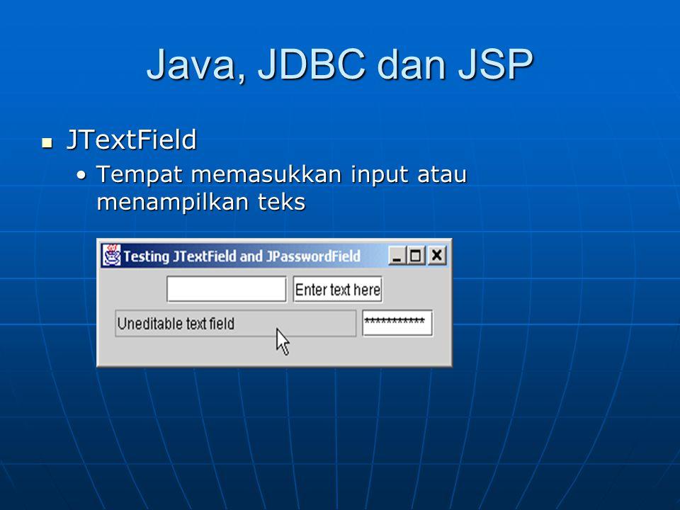 Java, JDBC dan JSP JTextField