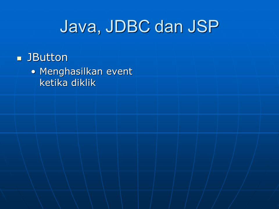 Java, JDBC dan JSP JButton Menghasilkan event ketika diklik