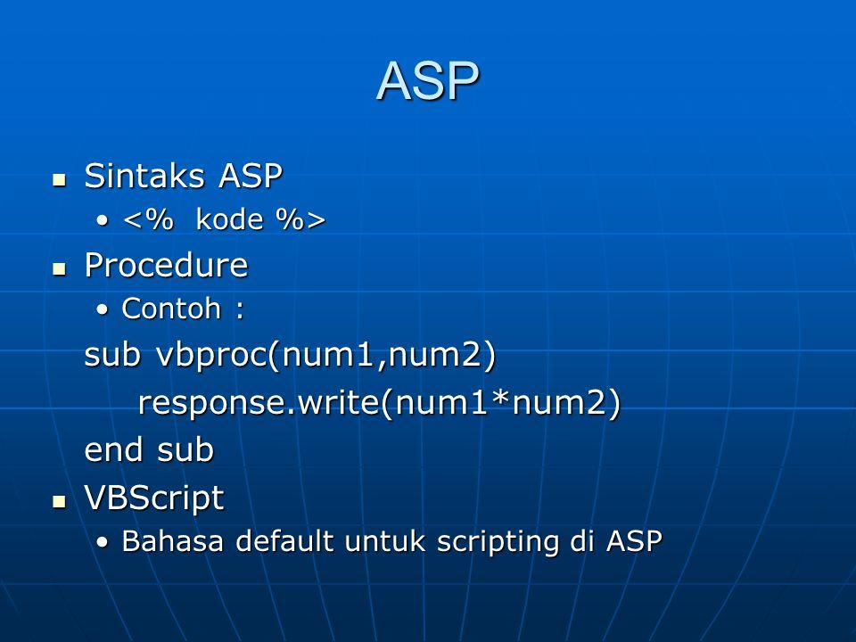 ASP Sintaks ASP Procedure sub vbproc(num1,num2)