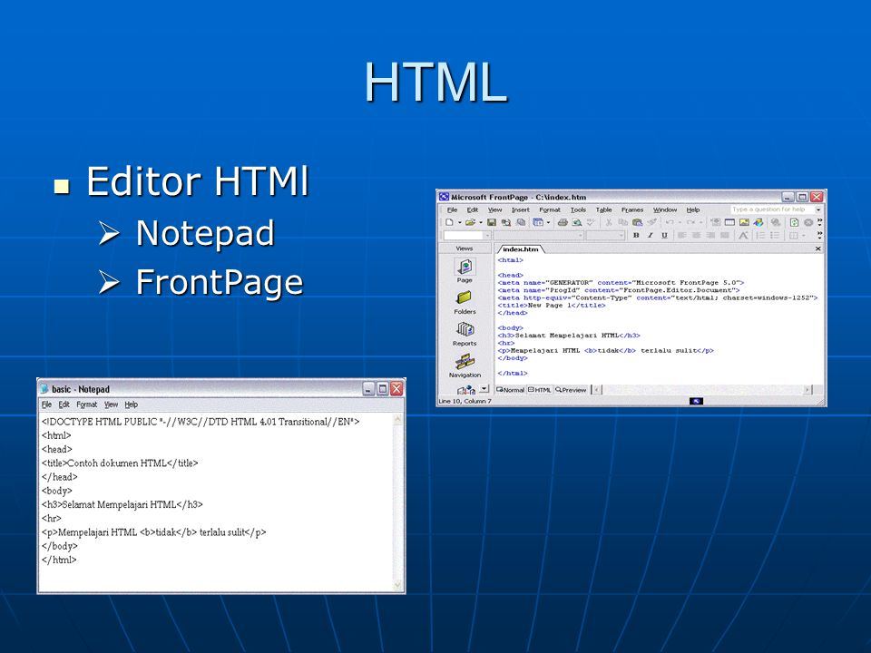 HTML Editor HTMl Notepad FrontPage