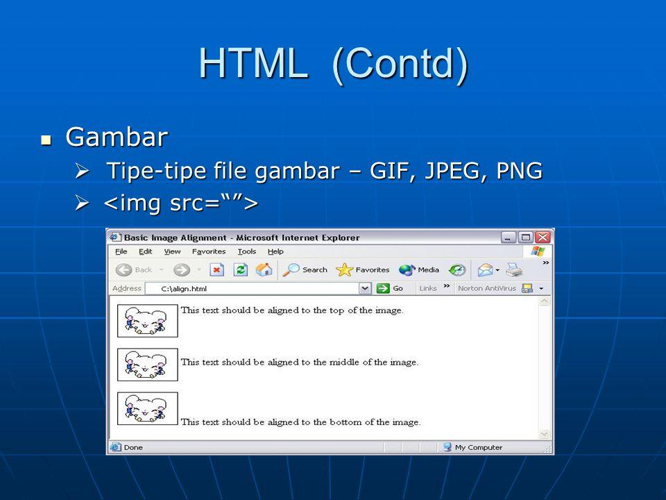 HTML (Contd) Gambar Tipe-tipe file gambar – GIF, JPEG, PNG