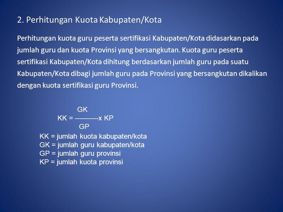 2. Perhitungan Kuota Kabupaten/Kota