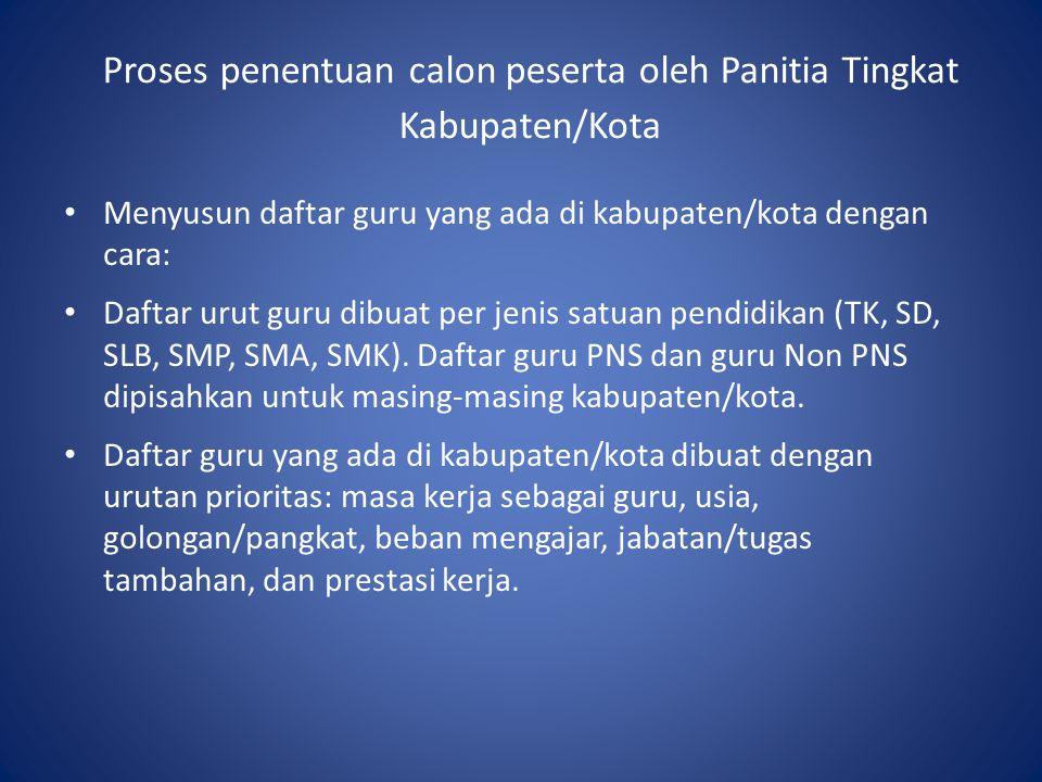 Proses penentuan calon peserta oleh Panitia Tingkat Kabupaten/Kota