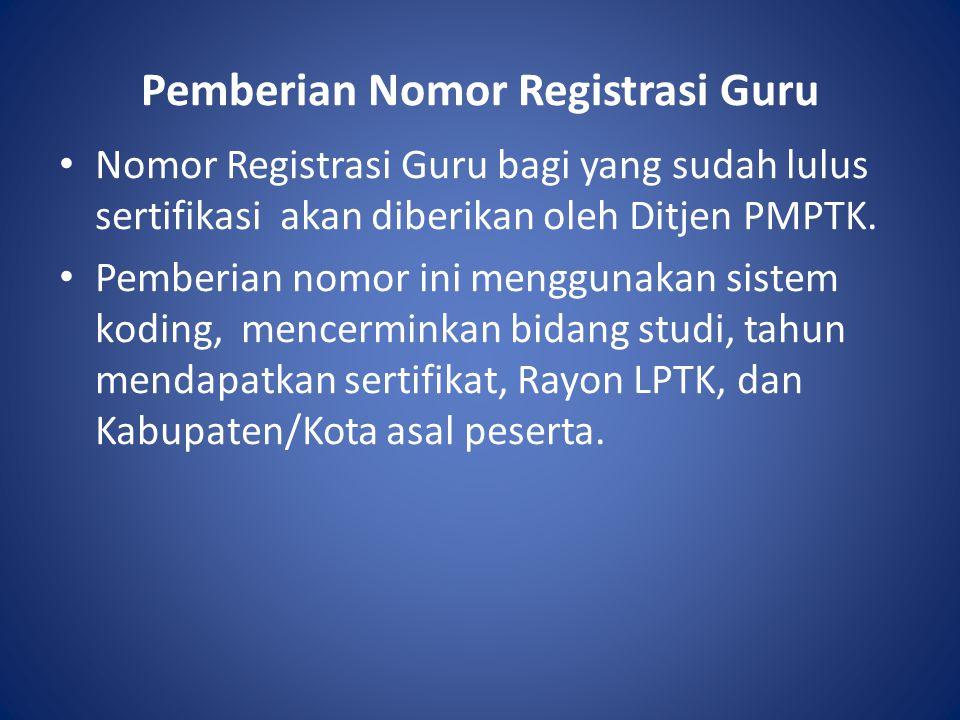 Pemberian Nomor Registrasi Guru