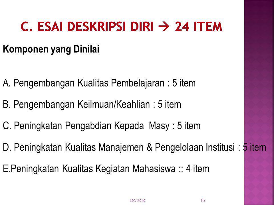 C. Esai Deskripsi Diri  24 item