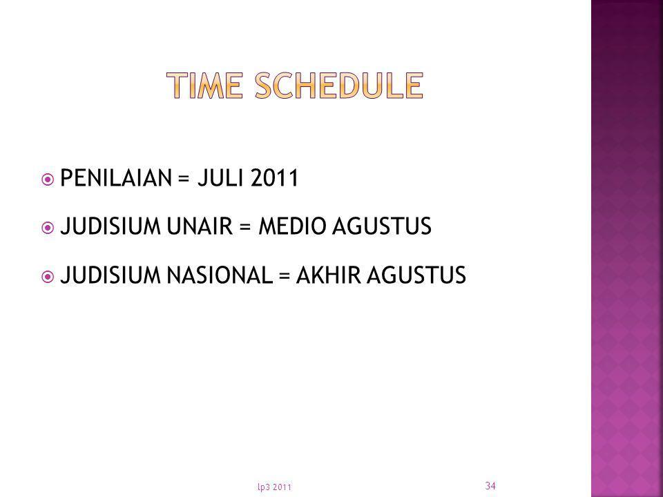 TIME SCHEDULE PENILAIAN = JULI 2011 JUDISIUM UNAIR = MEDIO AGUSTUS