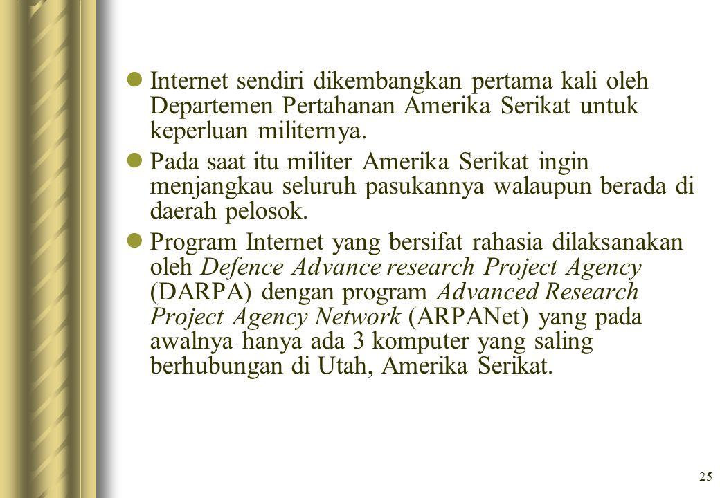 Internet sendiri dikembangkan pertama kali oleh Departemen Pertahanan Amerika Serikat untuk keperluan militernya.