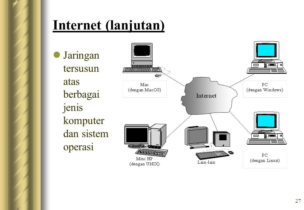 Internet (lanjutan) Jaringan tersusun atas berbagai jenis komputer dan sistem operasi