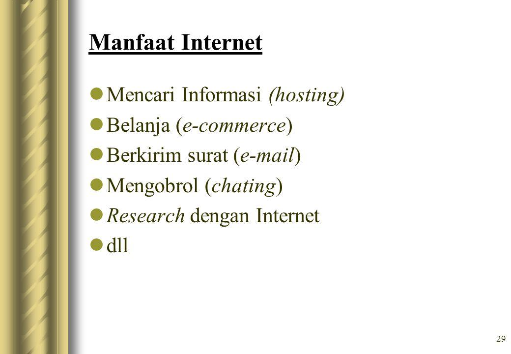Manfaat Internet Mencari Informasi (hosting) Belanja (e-commerce)