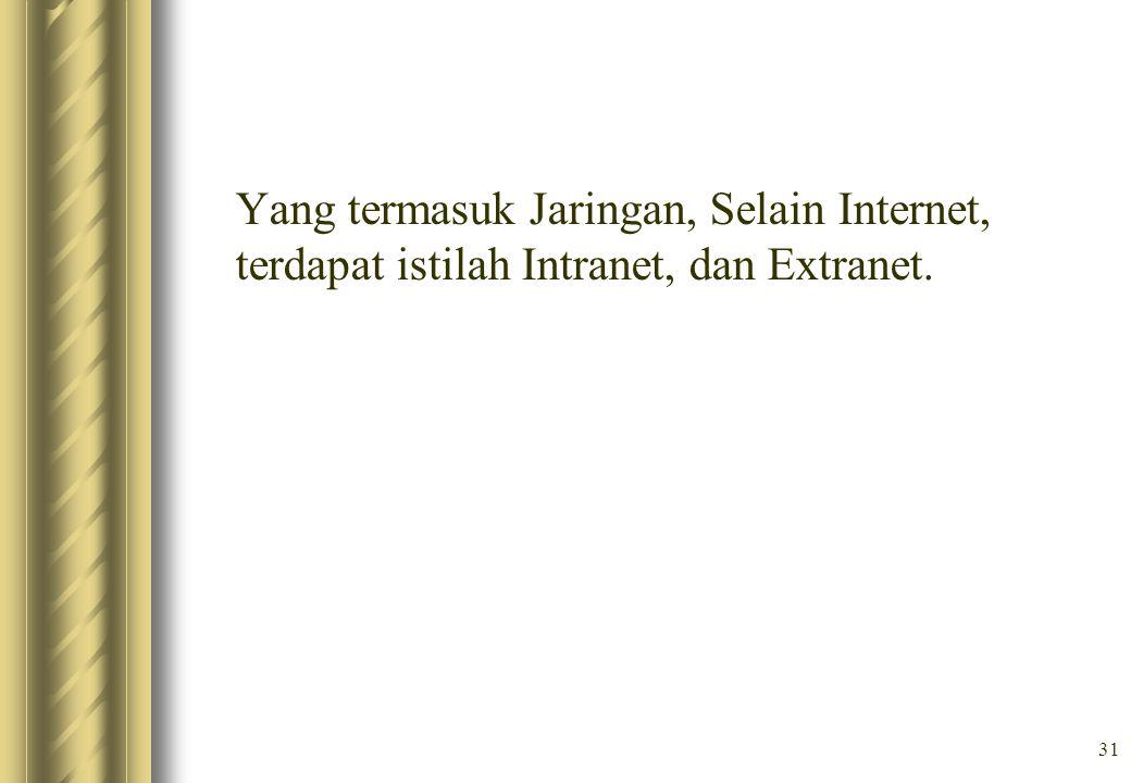 Yang termasuk Jaringan, Selain Internet, terdapat istilah Intranet, dan Extranet.