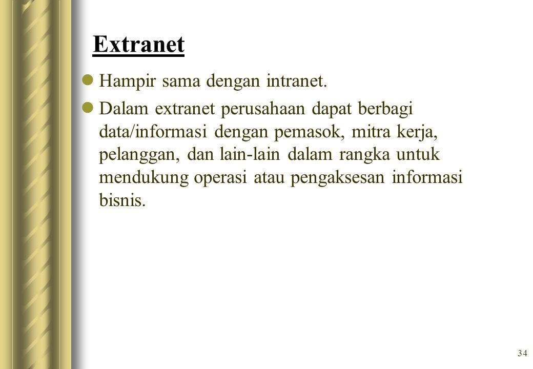 Extranet Hampir sama dengan intranet.