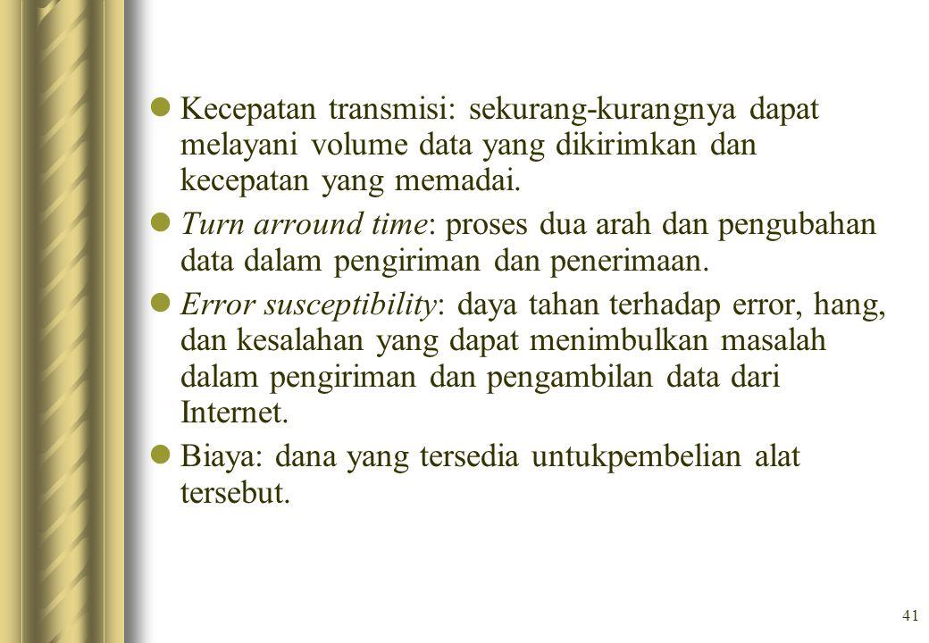 Kecepatan transmisi: sekurang-kurangnya dapat melayani volume data yang dikirimkan dan kecepatan yang memadai.