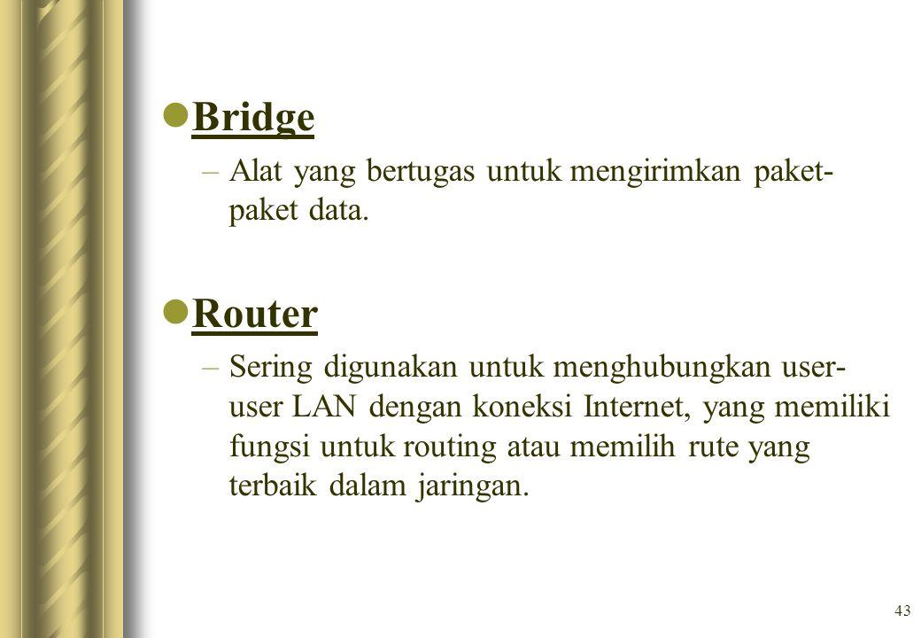 Bridge Router Alat yang bertugas untuk mengirimkan paket-paket data.