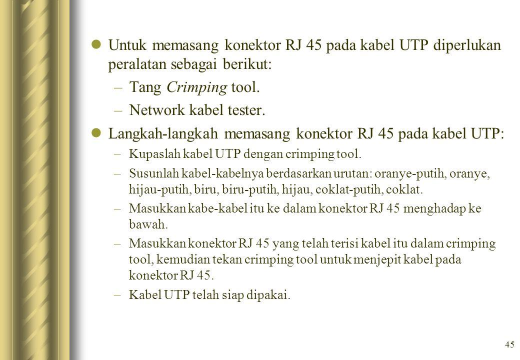 Langkah-langkah memasang konektor RJ 45 pada kabel UTP: