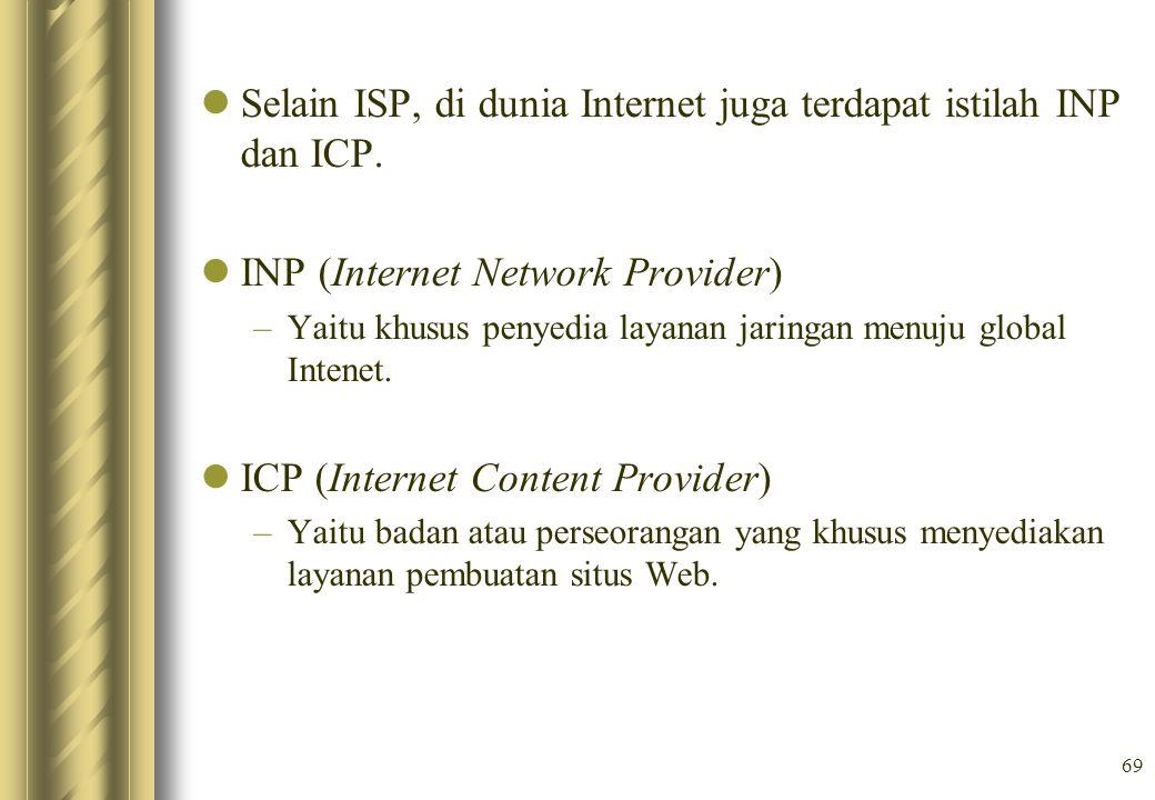 Selain ISP, di dunia Internet juga terdapat istilah INP dan ICP.