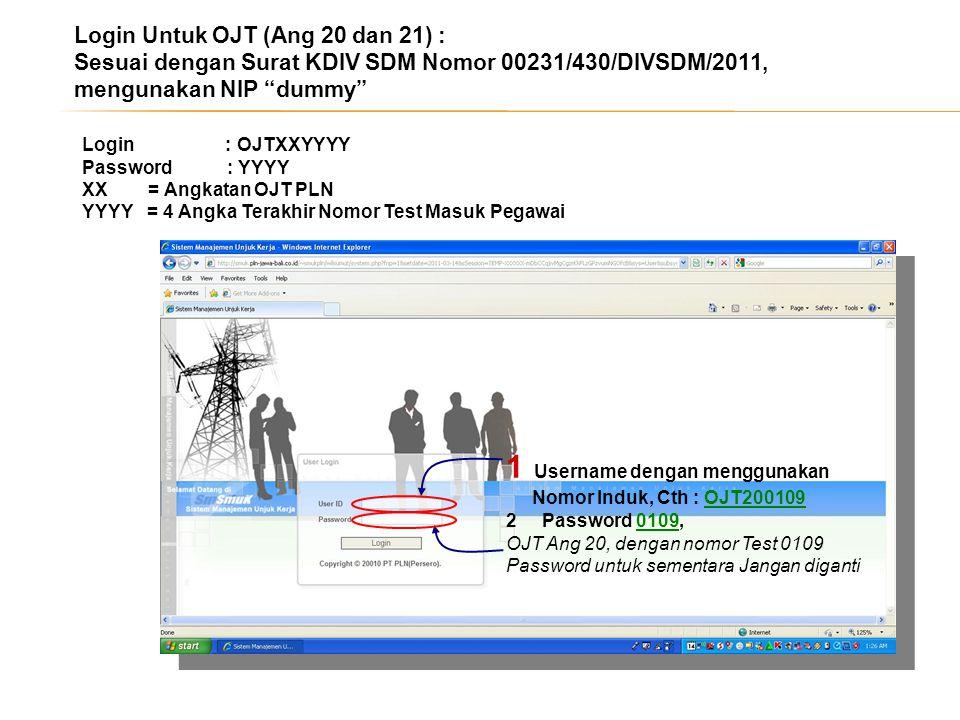 1 Username dengan menggunakan Nomor Induk, Cth : OJT200109